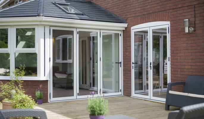 White Aluminium Bi-Folding Doors in Warminster